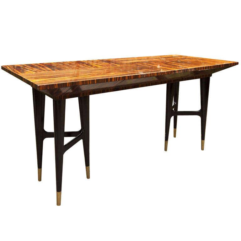 Mid-Century Macassar Ebony Writing Desk in the Manner of Gio Ponti 1
