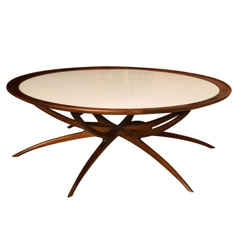 Large round cocktail table with white top and mahogany for Table th border