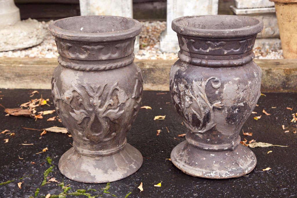 Pair of Cast Iron Urns 3