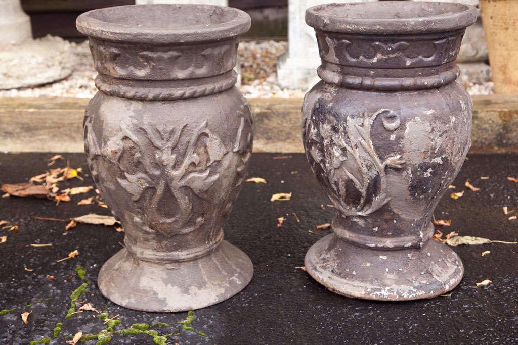 Pair of Cast Iron Urns 2