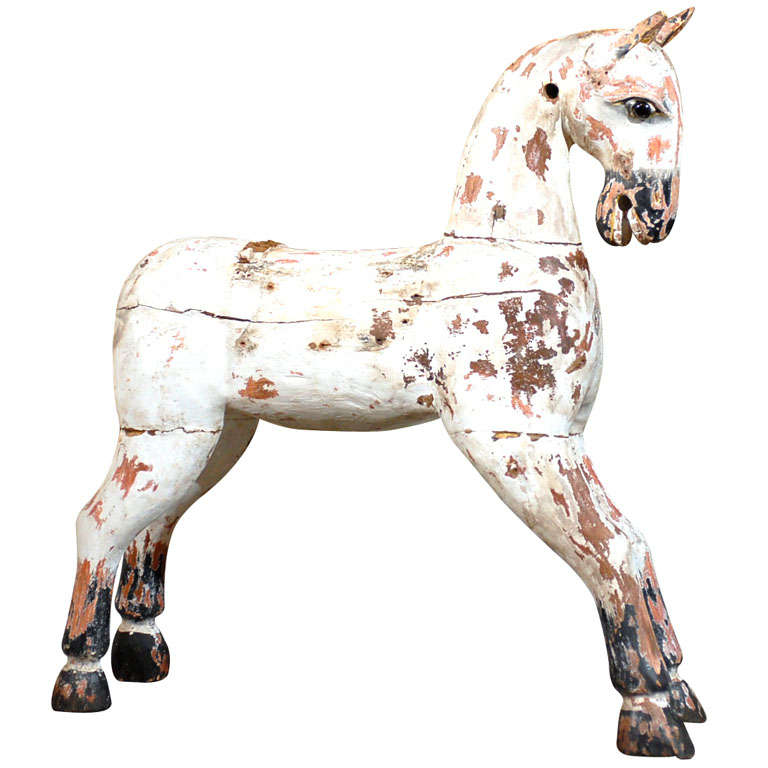 19th Century Painted Wooden Horse