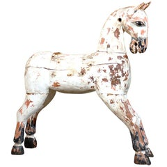 English 19th Century Painted Wooden Horse Sculpture with Distressed Finish