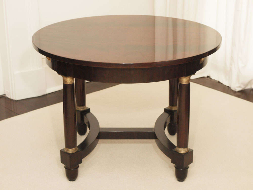 Empire Style Mahogany Center Dining Table With Two