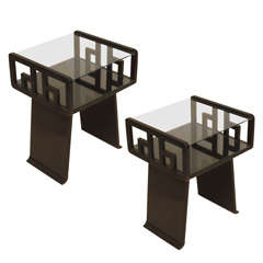 Pair Asian-inspired End Tables in Ebonized Wood