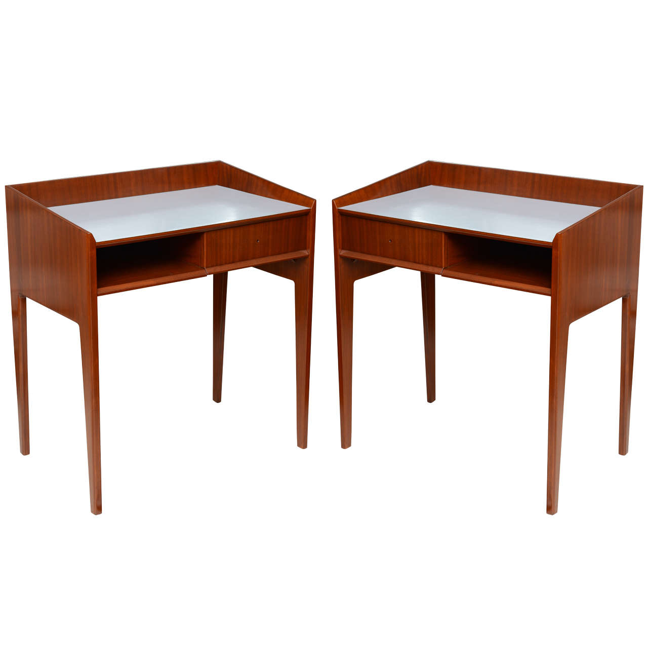 Rare Pair of Mahogany and Formica Side Tables in Style of Gio Ponti, Italy 1950s