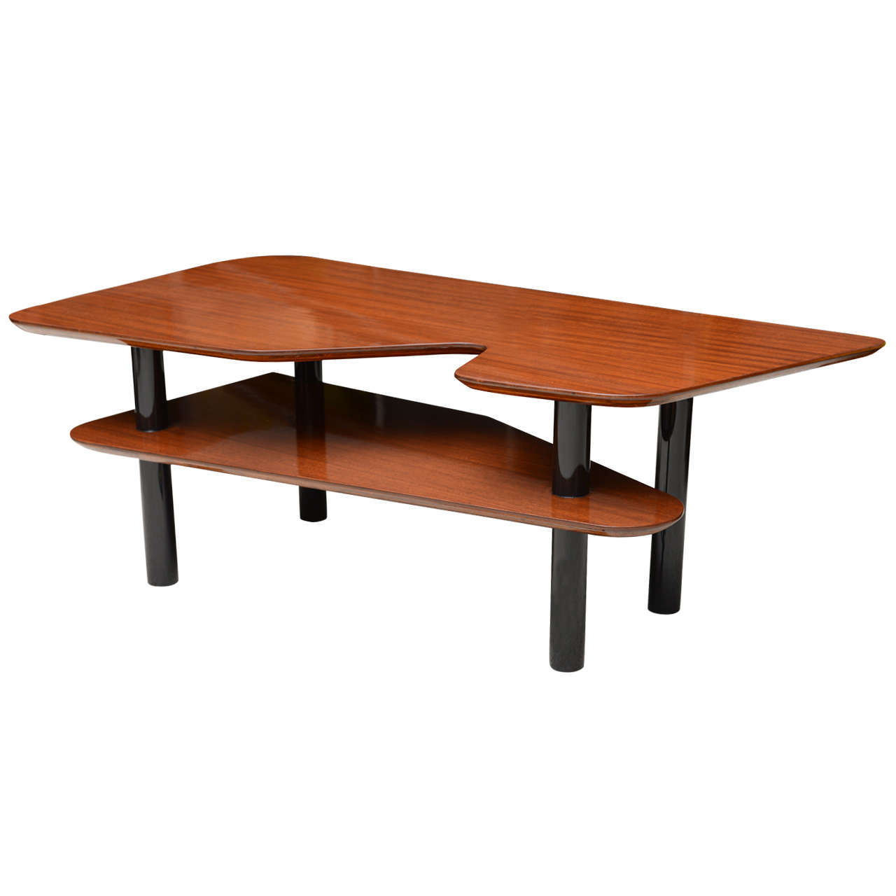 Italian Modern Mahogany And Ebonised Low Table Style Of Ponti For Sale At 1stdibs