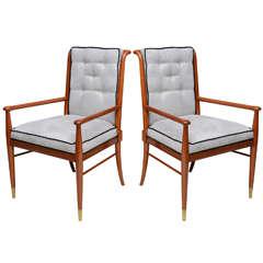Pair of John Stuart Walnut and Brass Armchairs, USA