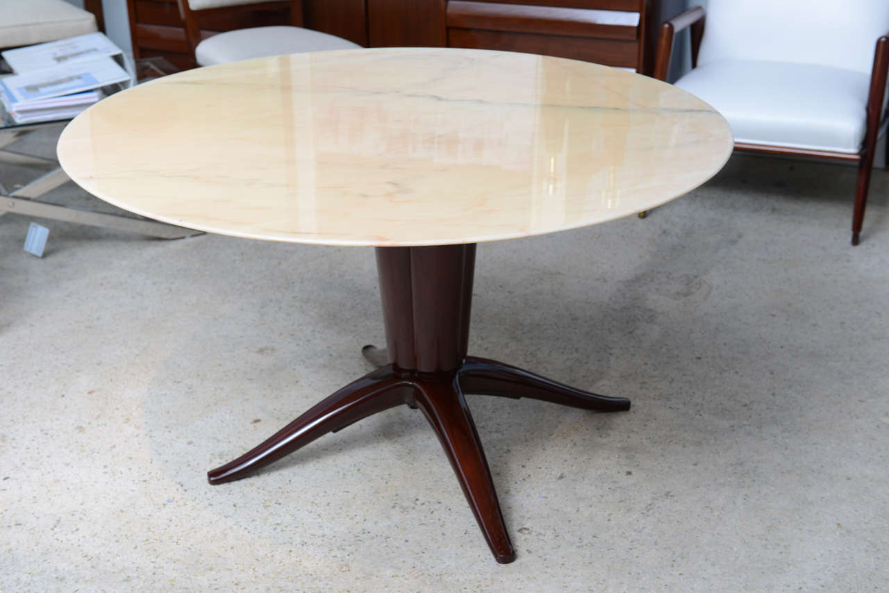 Italian Modern Mahogany and Onyx Top Center/Dining Table, Paolo Buffa 2
