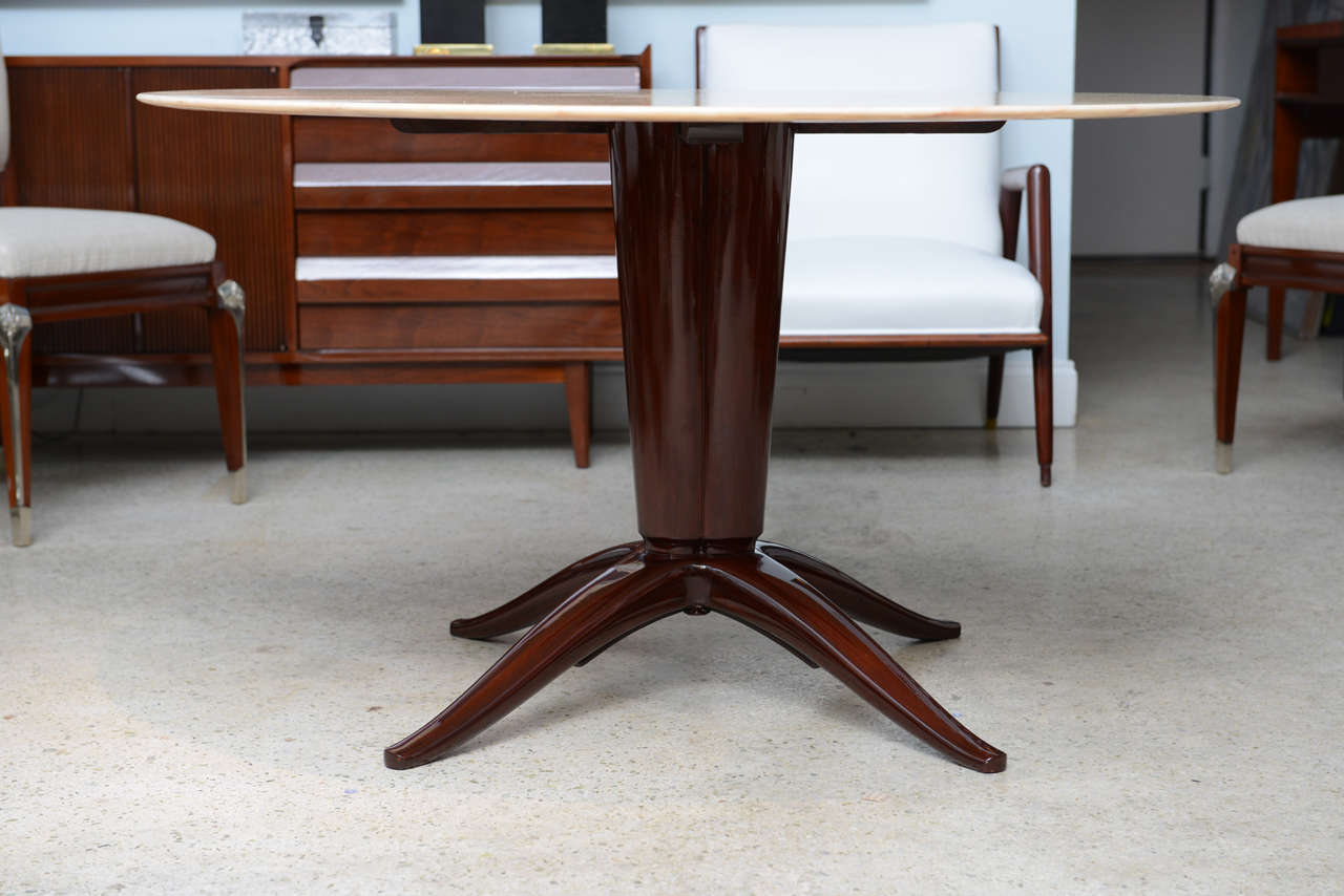 Italian Modern Mahogany and Onyx Top Center/Dining Table, Paolo Buffa 3