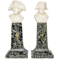 French Empire Style Marble and Alabaster Models of Napoleon and Frederick
