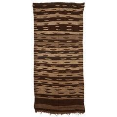 Vintage Moroccan Berber Mocha Wool Flat-Weave Rug