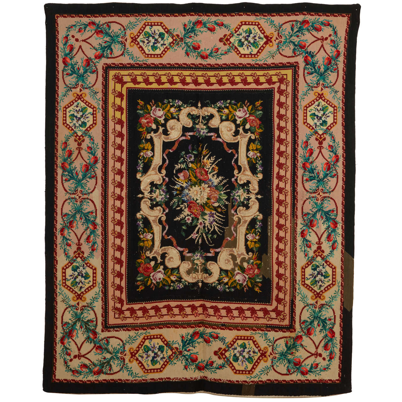 Victorian English Needlepoint Rug For Sale At 1stdibs