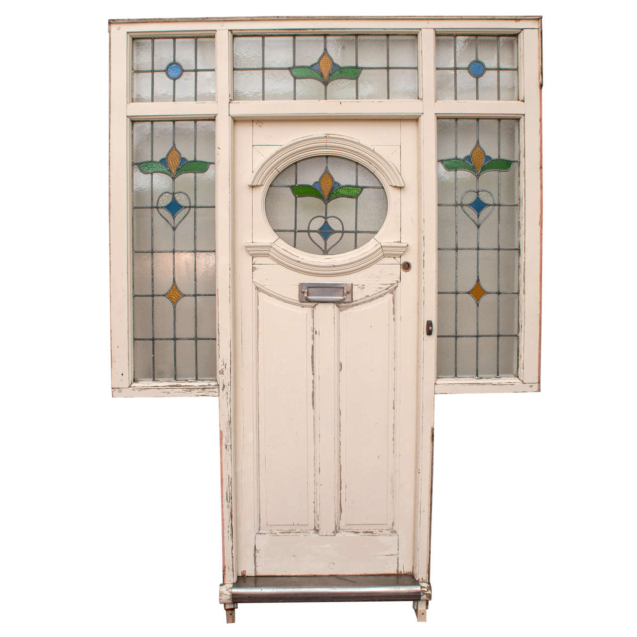 Stained glass front door at 1stdibs for Front entry doors with glass