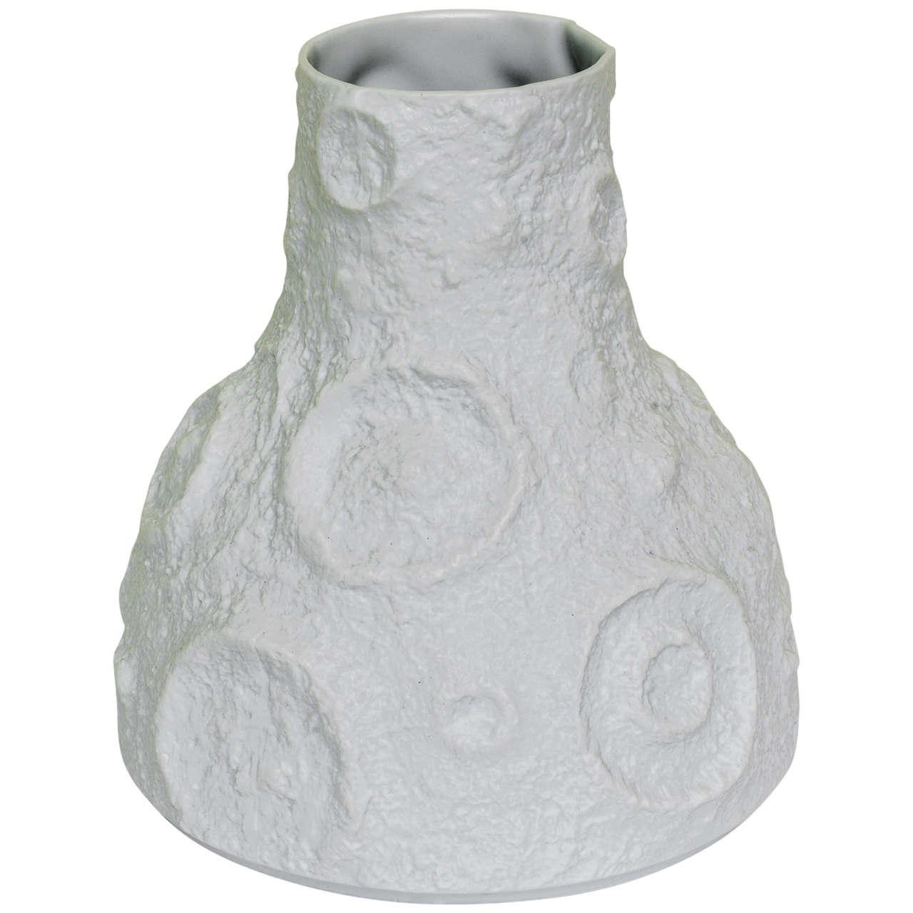 Textural Intaglio White Signed Porcelain Vase / Vessel
