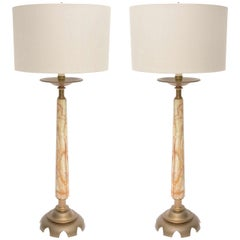 Pair of Onyx and Bronze Lamps