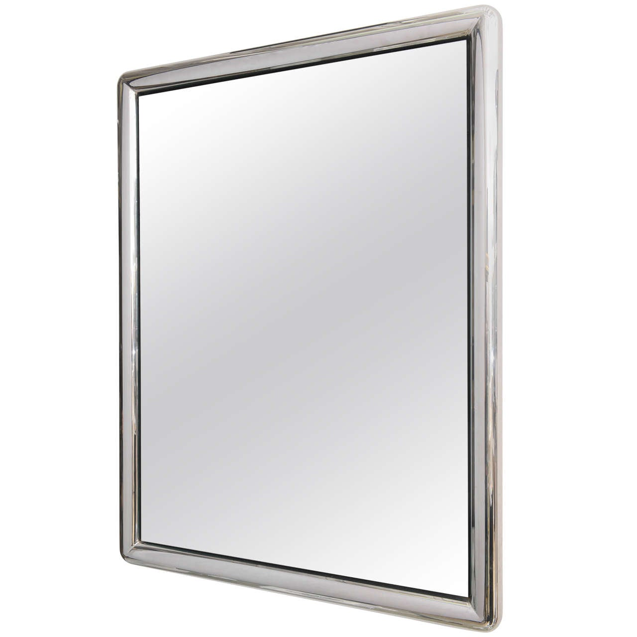 Chrome framed wall mirror at 1stdibs for Mirror framed wall mirror