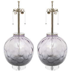 Pair of Chrome, Lucite and Purple Colored Lamps