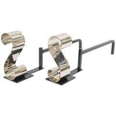 "Pair of Modern Nickel Plated, ""S Form"", Scroll Andirons"