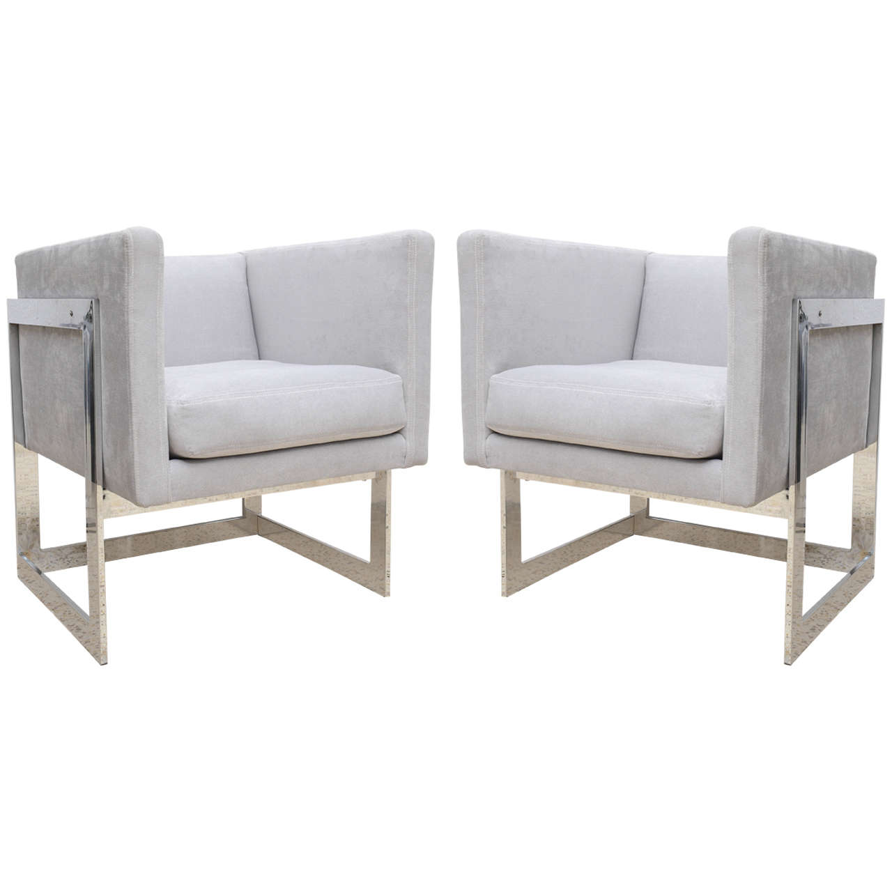 Milo baughman flat bar cube chair chrome with grey fabric at 1stdibs - Vintage lyon lounge ...