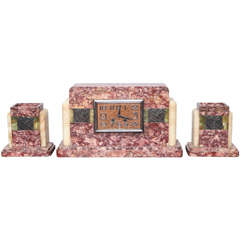 Art Deco Mantel Clock Set of Three Rose Siena Marble and Onyx