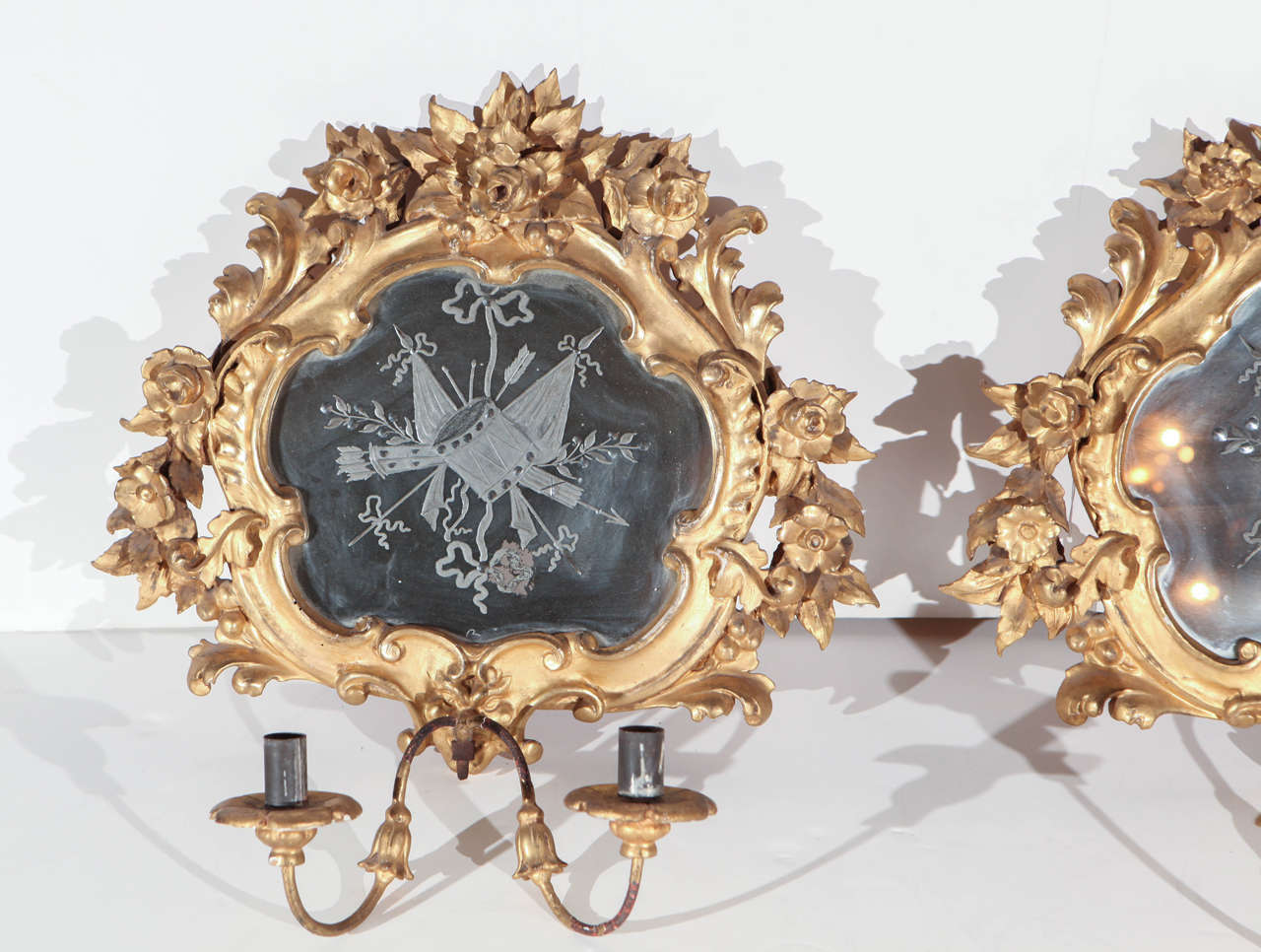Glass 19th Century, French Wall Sconces For Sale