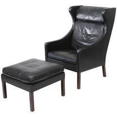 Borge Mogensen Leather Wingback Chair and Stool