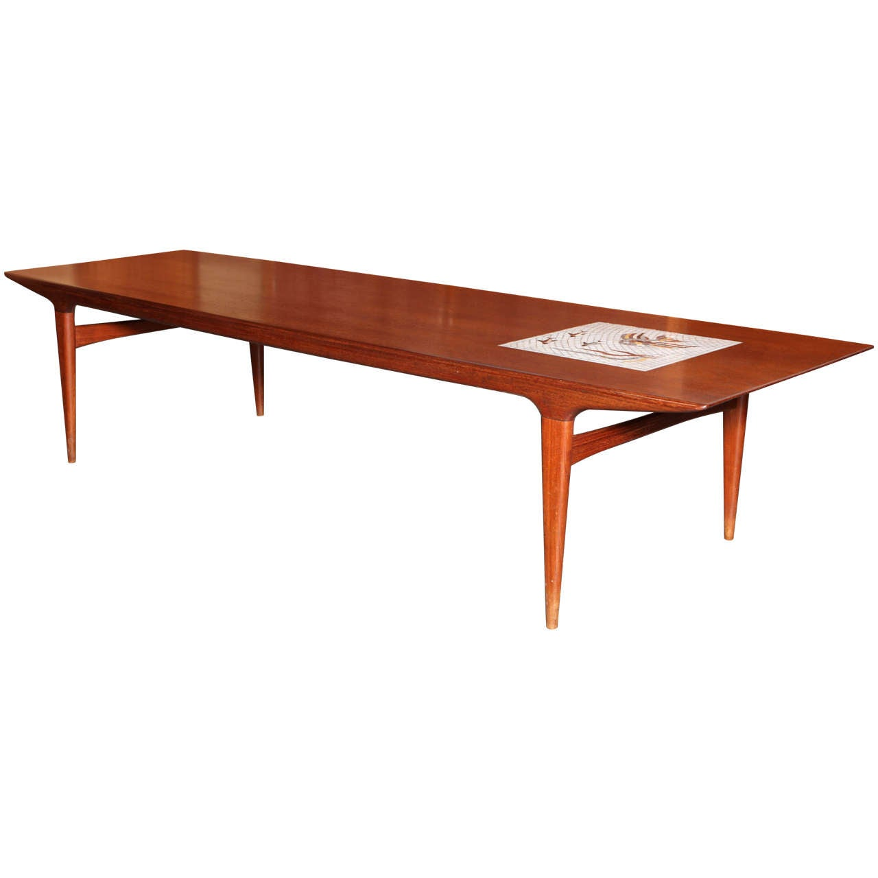 Teak Coffee Table With Mosaic Tile By Johannes Andersen At 1stdibs