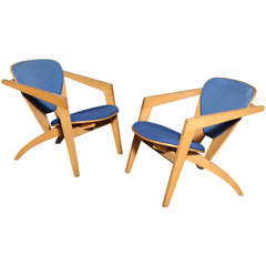 Hans Wegner Butterfly GE 460 Easy Chairs, Pair