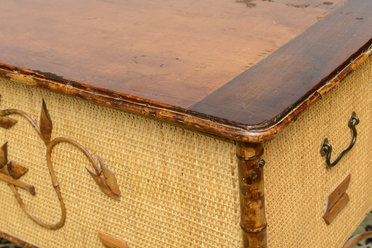 Vintage Bamboo And Wicker Chest At 1stdibs