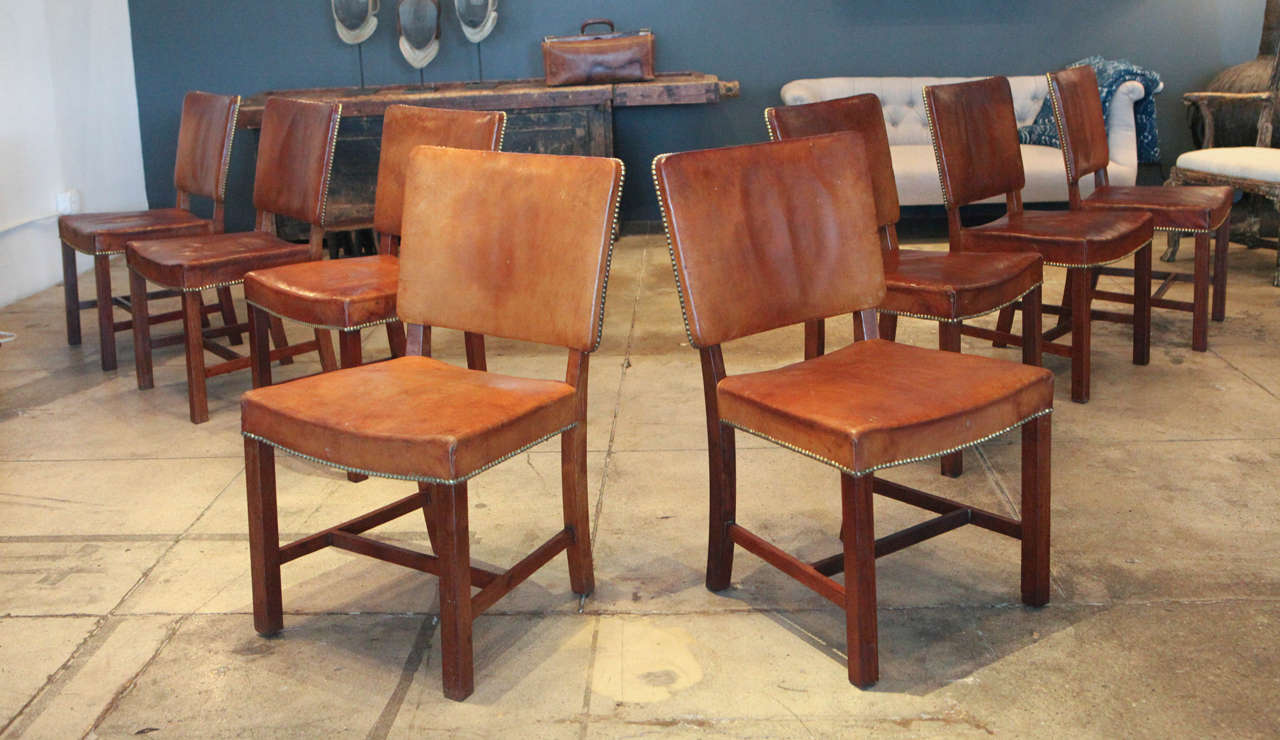 Set Of Eight Stig Thoresen Lassen Cognac Leather Dining