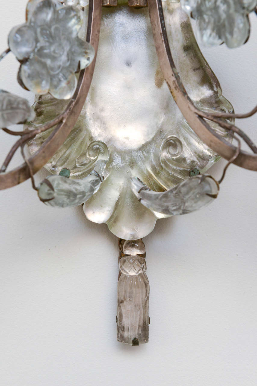 French Unusual Pair of Glass Wall Sconces For Sale