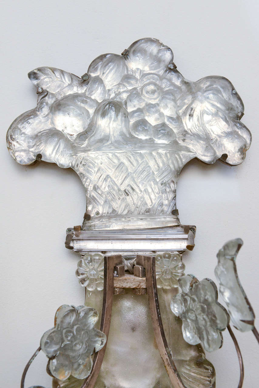 Unusual Pair of Glass Wall Sconces In Good Condition For Sale In West Palm Beach, FL