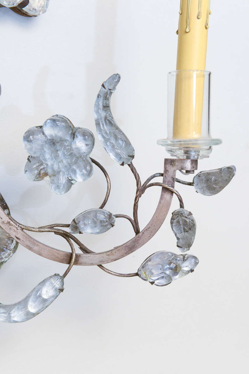 19th Century Unusual Pair of Glass Wall Sconces For Sale