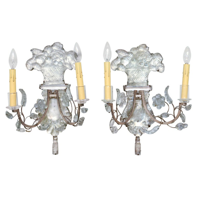 Unusual Pair of Glass Wall Sconces For Sale