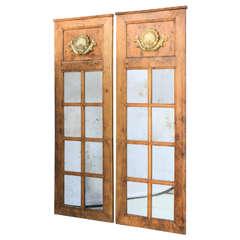 "Pair of 19th Century Burl Wood Door ""Trumeaus"""