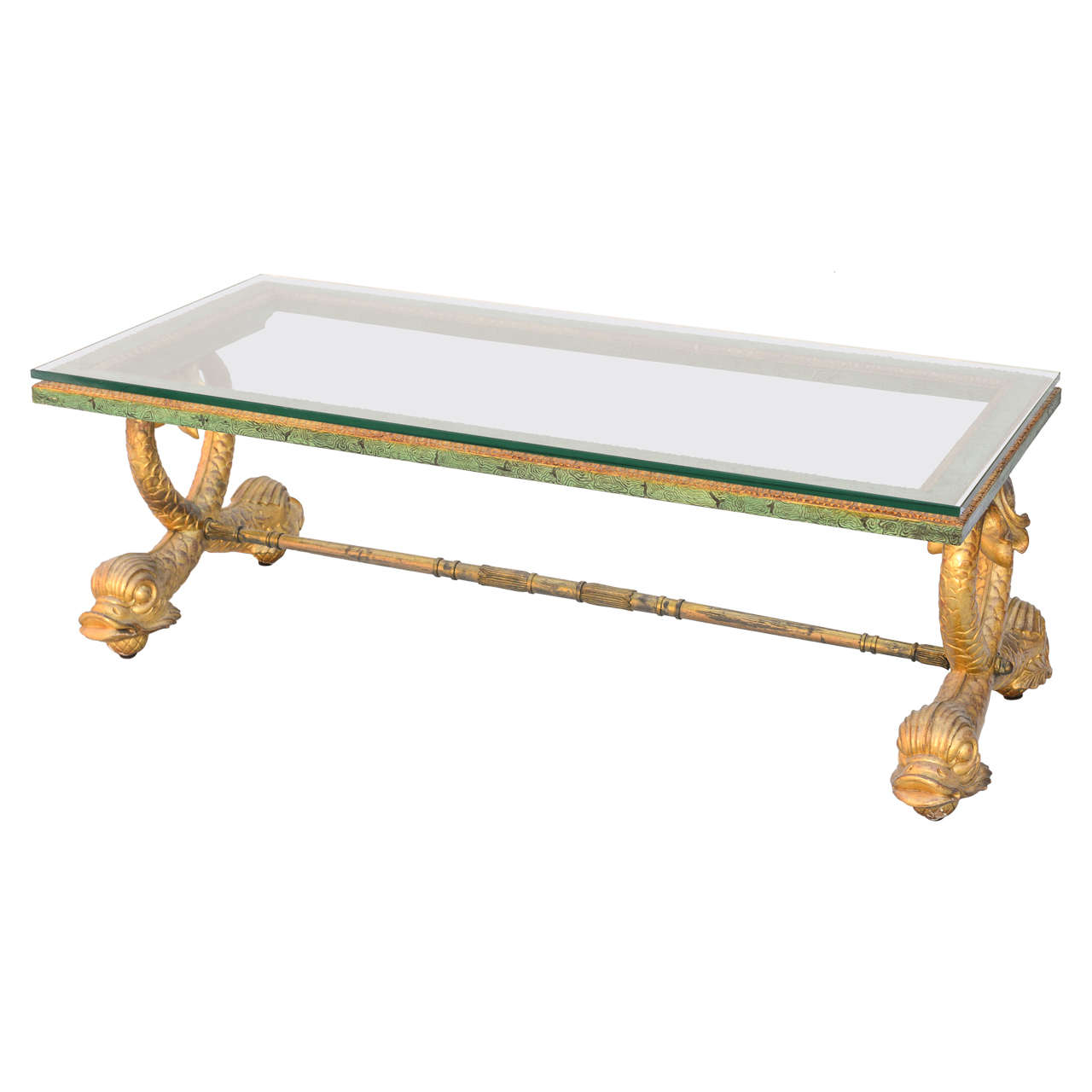 Italian Coffee Table With Gilded Dolphin Legs At 1stdibs
