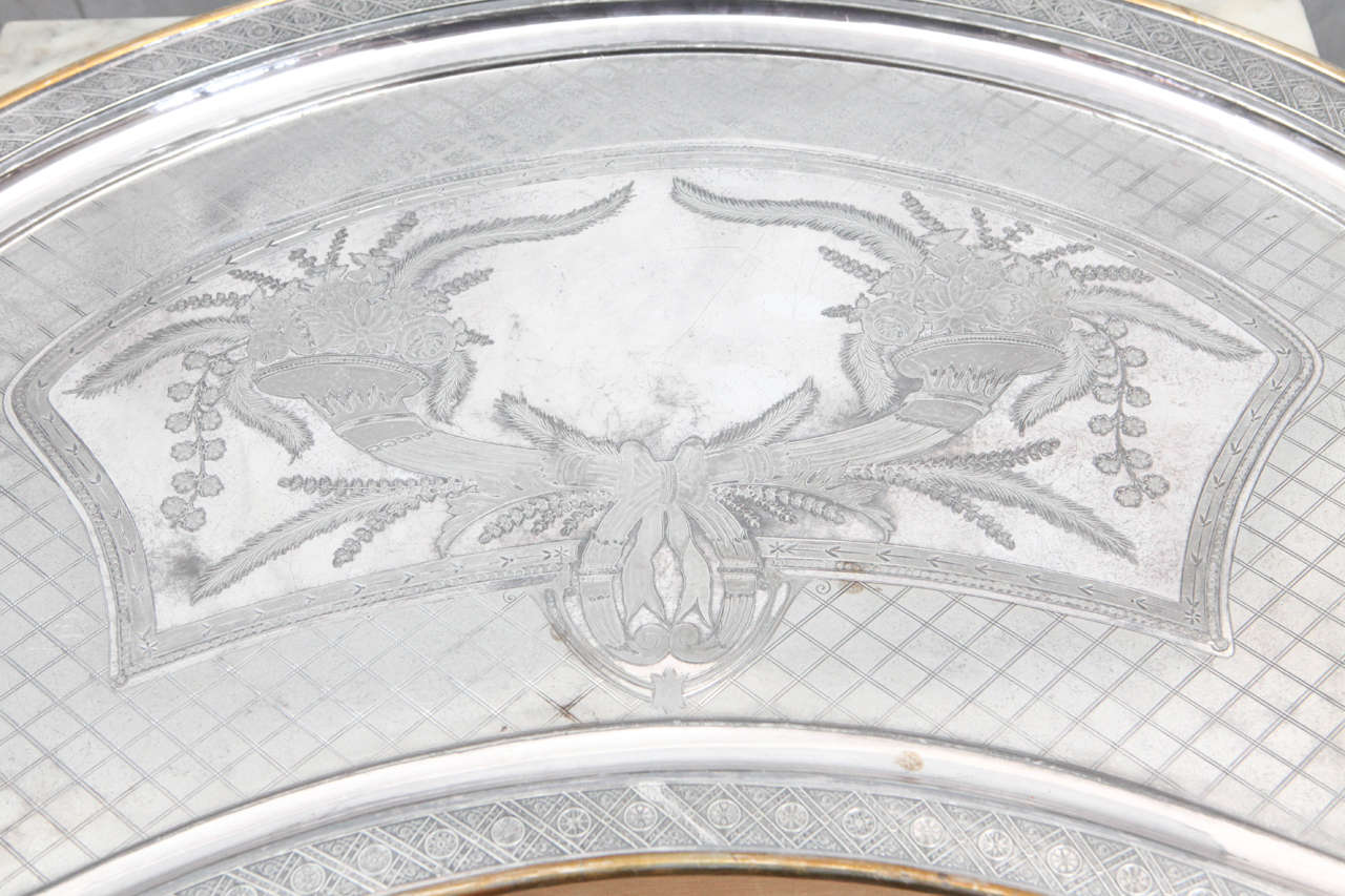 American Silver Plated Butler Tray with Articulated Cherub Handles For Sale