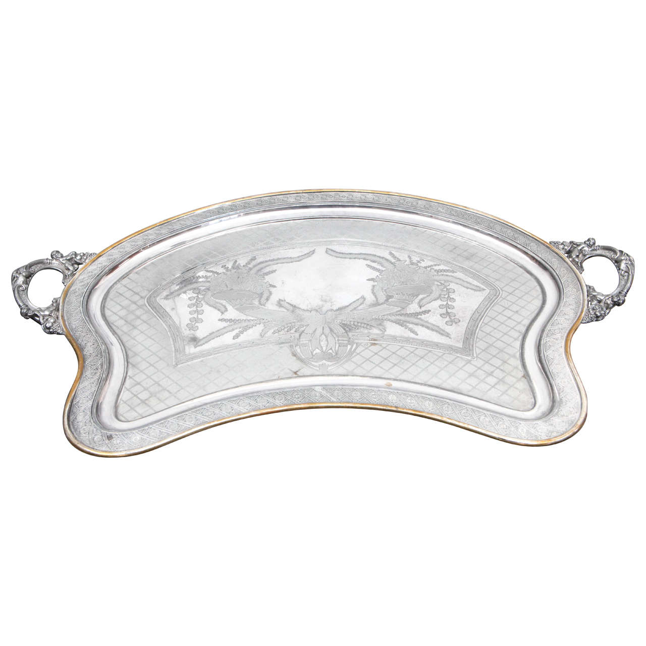 Silver Plated Butler Tray with Articulated Cherub Handles