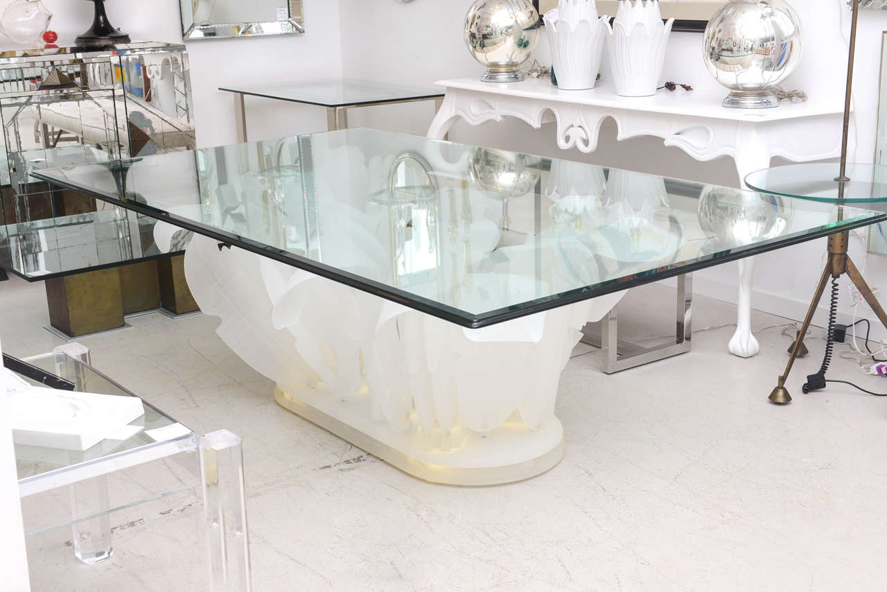 Monumental Lucite Palm Leaf Base Dining Table 2