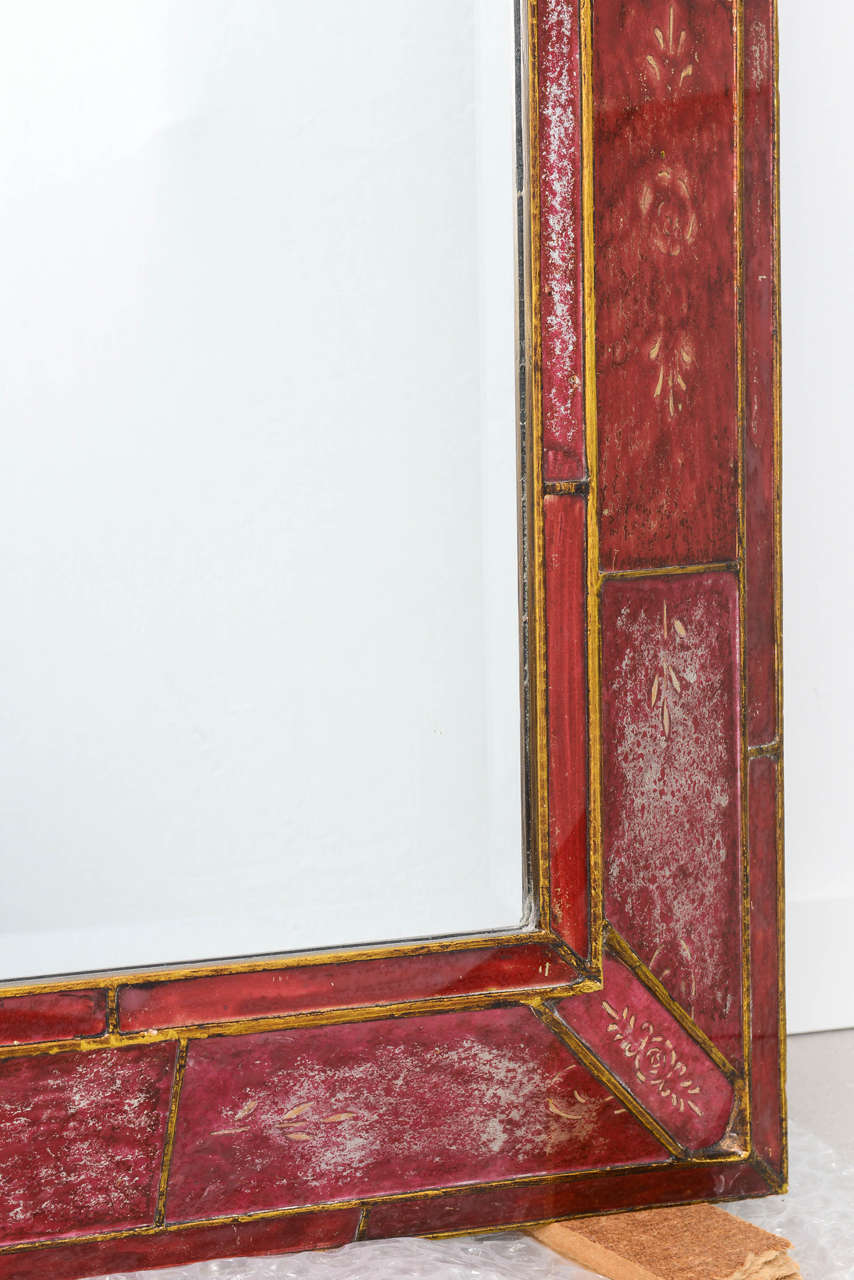 Large red reverse painted glass mirror at 1stdibs for Glass floor mirror