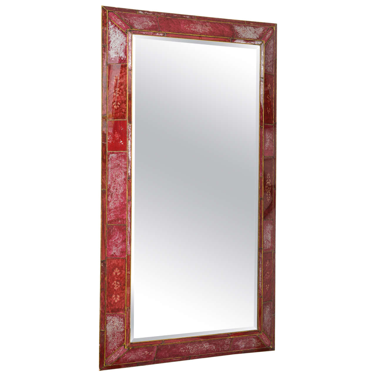 Large red reverse painted glass mirror at 1stdibs for Tall glass mirror