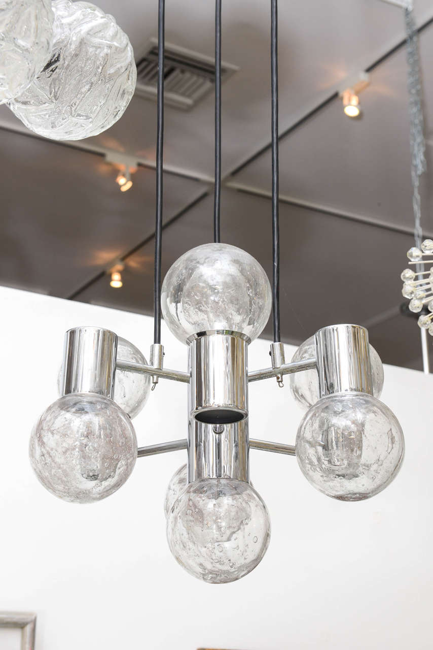 Mid century modern chrome and glass pendant light fixture for Mid century modern globe pendant light