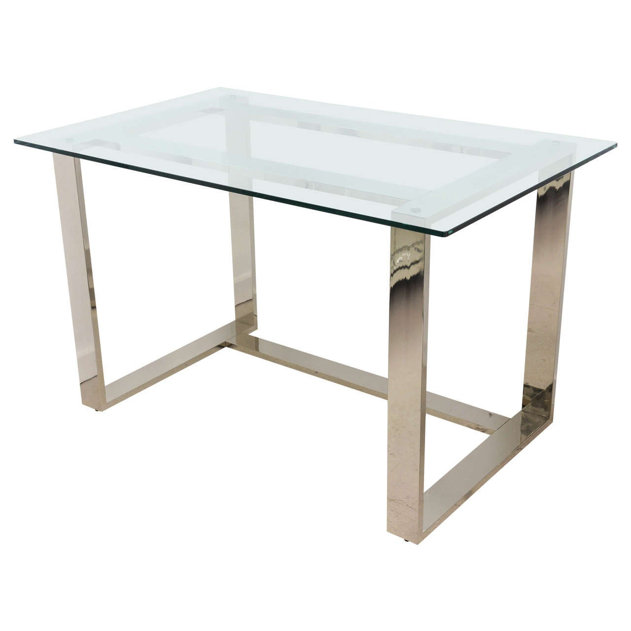 Mid Century Modern Polished Chrome And Glass Desk At 1stdibs