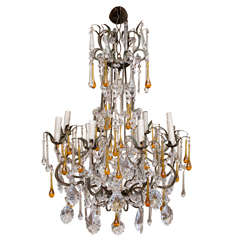 Italian Crystal Vintage Chandelier with Yellow Drops