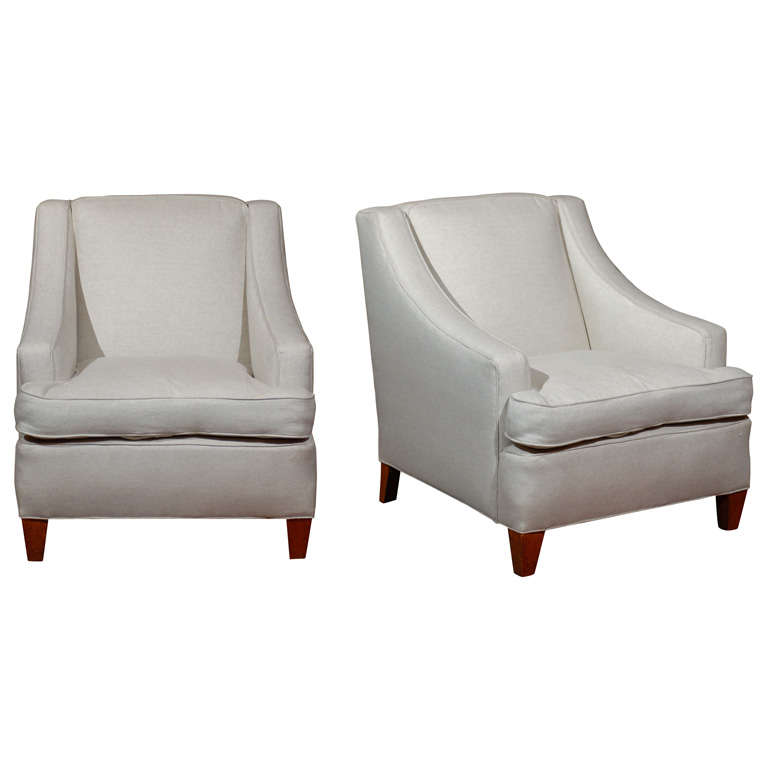 Pair of French Square Back Club Chairs Upholstered in Linen, 19th Century