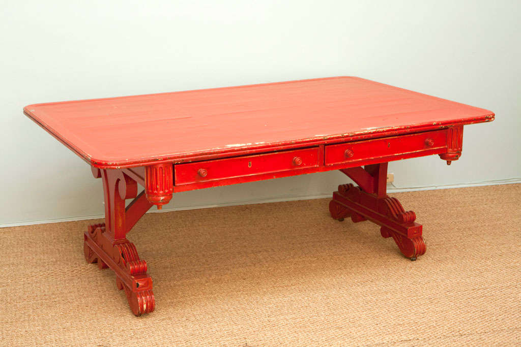 George IV- Style Vintage Partner Desk.  Painted Red in the 1960's.