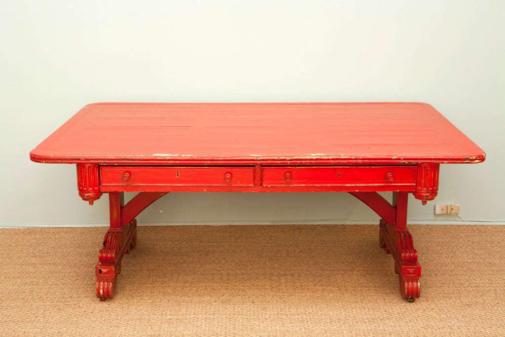 American Vintage Red Partner Desk For Sale