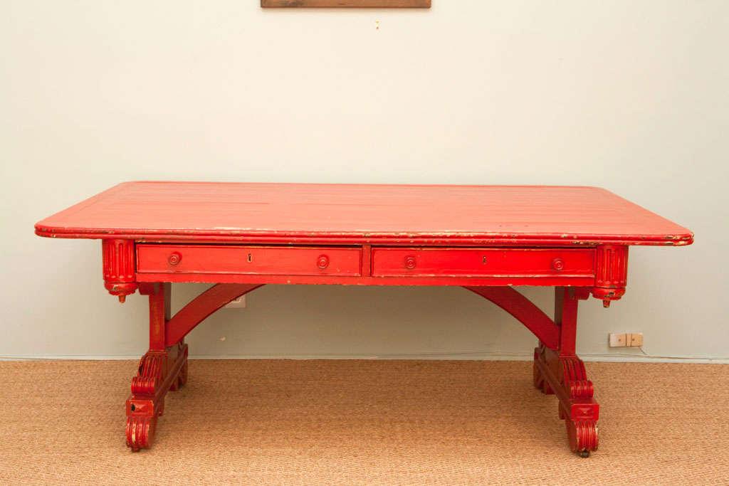 19th Century Vintage Red Partner Desk For Sale