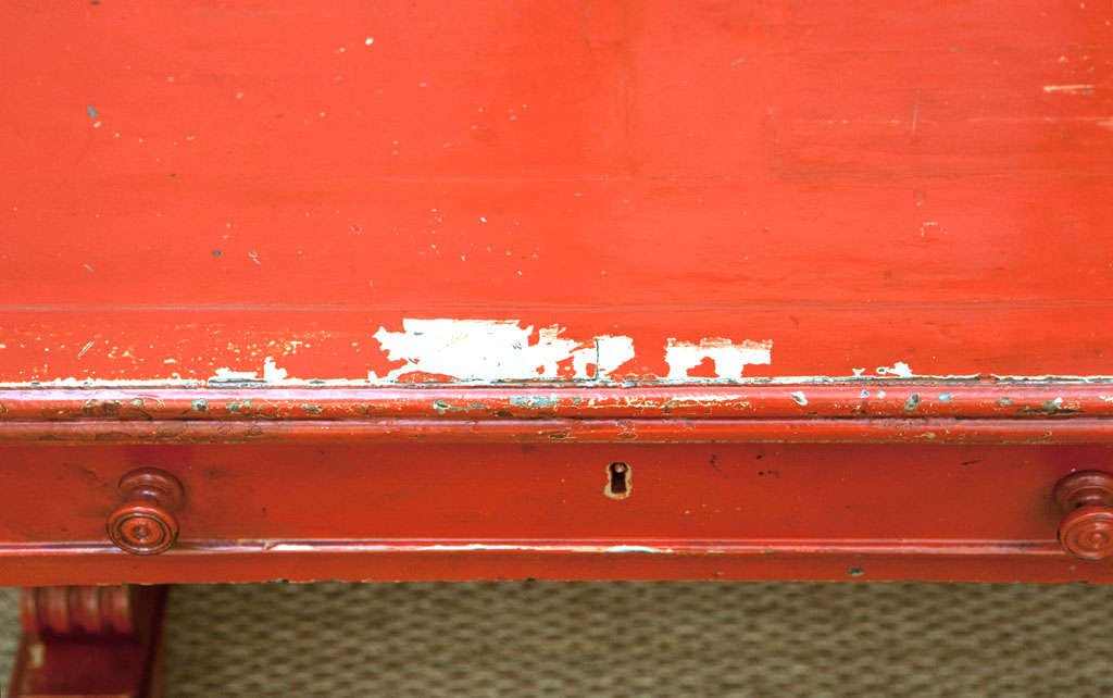 Vintage Red Partner Desk For Sale 1