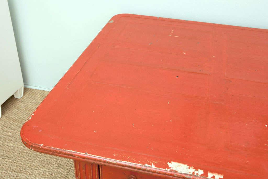 Vintage Red Partner Desk For Sale 2